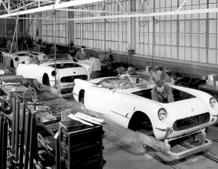 1953 Corvette assembly line